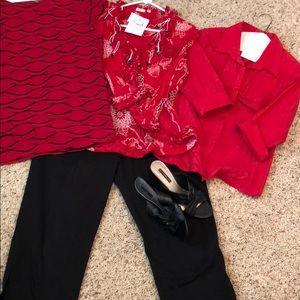 4 cute red tops med- Lg black capri sz 10 shoes